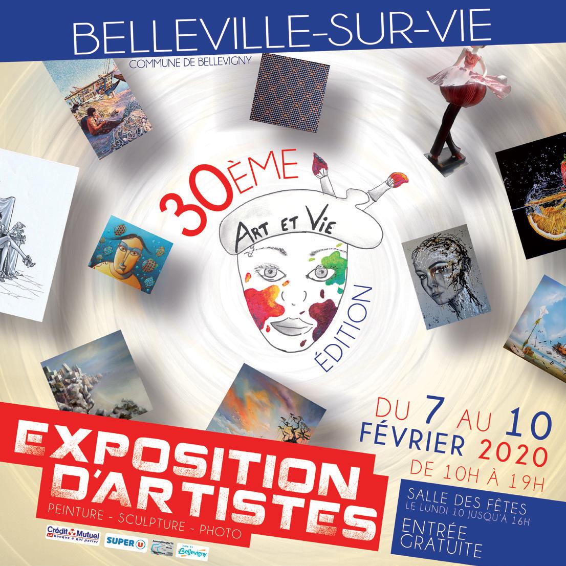 affiche de la 30e edition de l'exposition annuelle d'artistes de Belleville sur Vie 2020